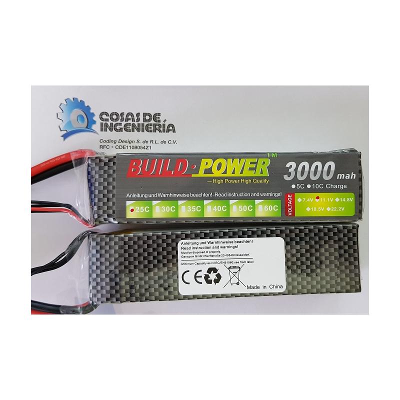 Bateria Lipo Buildpower 3000mah 3s 25-50c, Robotica, Arduino