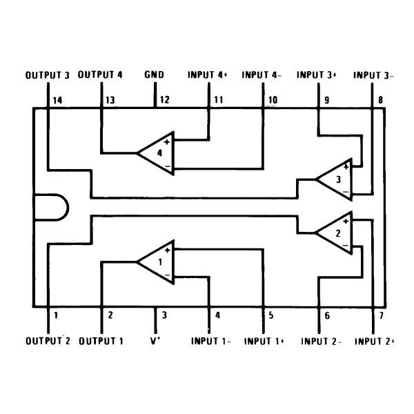 4 Comparadores de 1 sola fuente (LM339N)