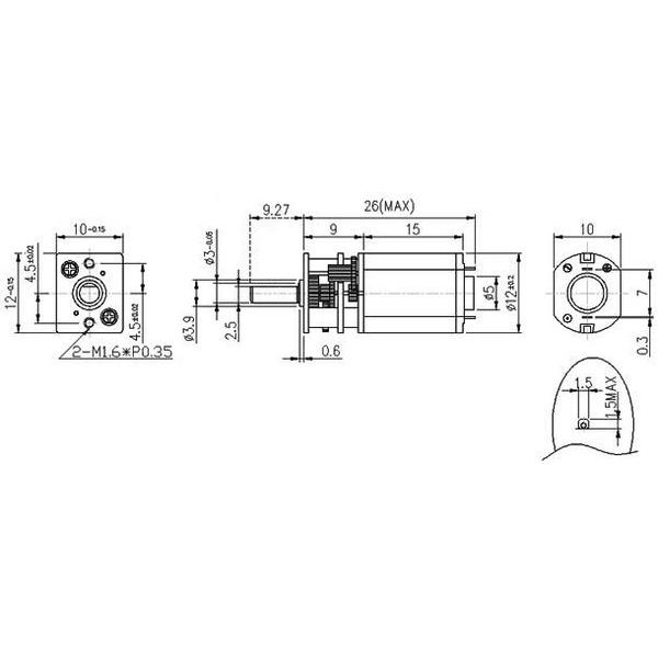 Micro motorreductor con engrane de metal, alto torque, relación 150:1