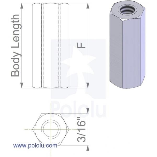 Separadores de aluminio (standoff) de 11mm (paquete con 4) hexagonales