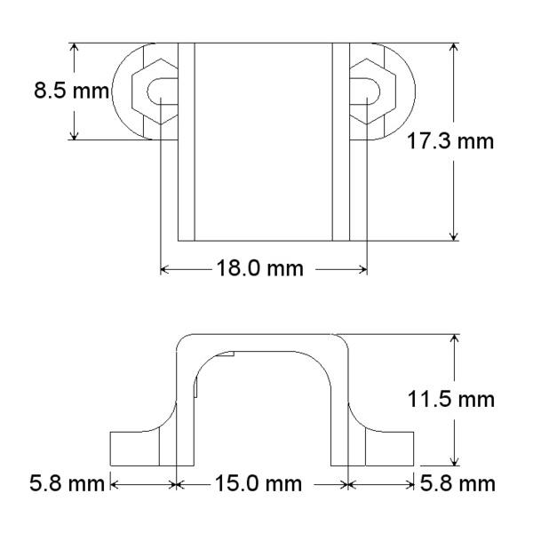 Par de bases largas de fijación para micro motoreductores, color blanc