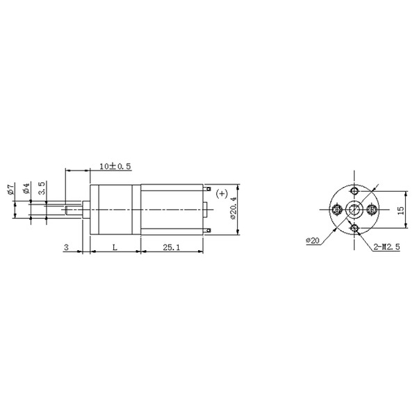 Motorreductor con engrane de metal 20D x 41L mm 29:1