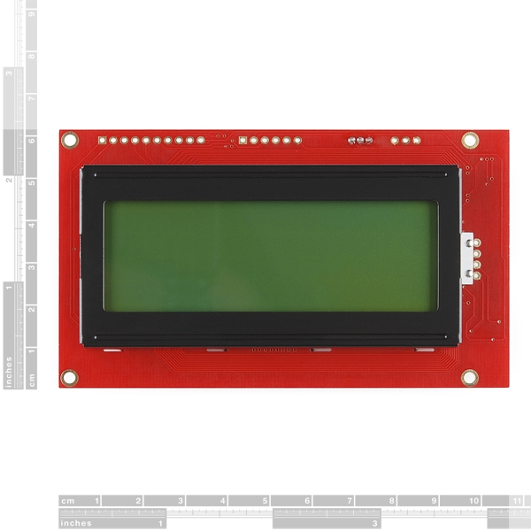 Pantalla LCD serial 20 x 4 letras negras fondo verde 5 V