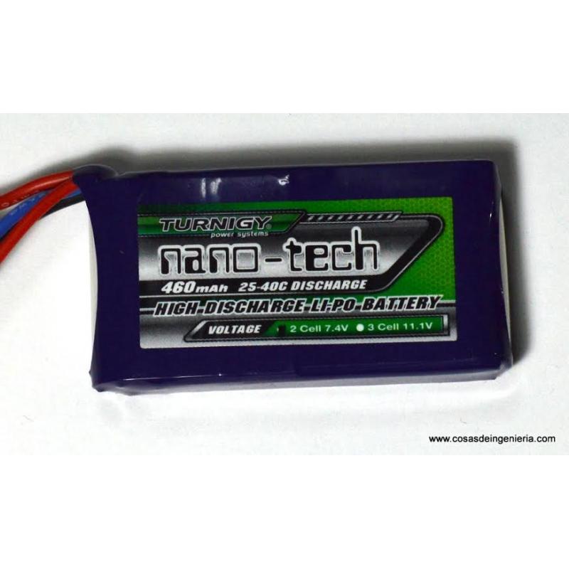 Batería de Polímero de Litio nano-tech de 2 celdas (7.4V) - 460mAh
